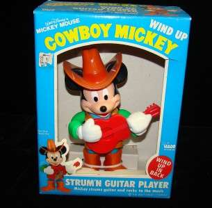 VINTAGE DISNEY COWBOY GUITAR PLAYING WIND UP MICKEY MOUSE MIB