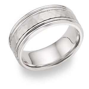 Hammered Wedding Band Ring   14K White Gold Jewelry