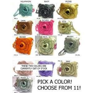 PICK A COLOR Designer Rare Handmade Raised Flower Purse Square Pouch