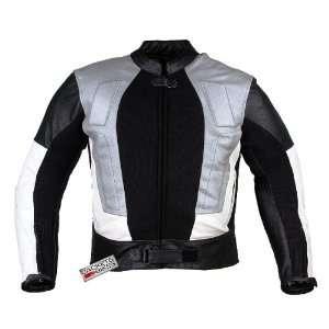 POWER MENS MOTORCYCLE LEATHER JACKET ARMOR SILVER XXL Automotive