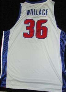 Rasheed Wallace Autographed Detroit Pistons Jersey   Framed