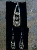 Tear drop rhinestone necklace & earring set~NIB~NR