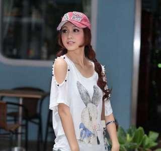 New Fashion Korean Women Rabbit Printing Off Shoulder Tops T Shirt 3