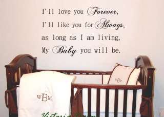 ll love you forever     DECAL STICKER QUOTE LETTERING