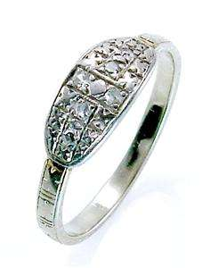 Diamond Antique Estate Vintage Engagement 14K White Gold Ring Old 7 1