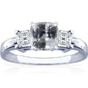 18K White Gold Cushion Cut White Sapphire Three Stone Ring Jewelry