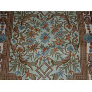 MDS Crewel Rug Pool of Flowers Brown Chain Stitched Wool Rug (2X3FT