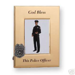 God Bless Police Officer Badge Shield Picture Frame  EE Jewelry