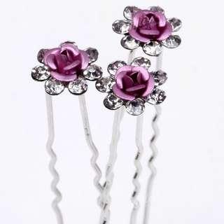 10pcs Pink Flower Hair Pins Clips Crystal Bulk Jewelry