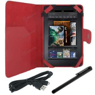Folio Carry Cover Case + USB Charge Cable Cord + Stylus for