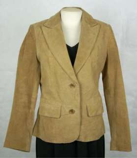 TOWER HILL COLLECTION Womens Ladies Tan SUEDE LEATHER Coat Jacket size
