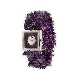 Aria Gemstone Beaded Stretch Bracelet Watch*AMETHYST*