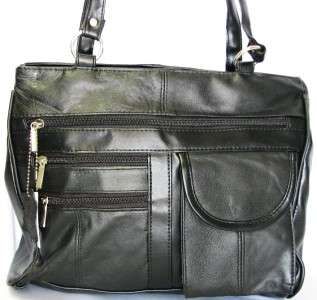 NWT Black Genuine LEATHER Large Shoulder Bag Handbag SATCHEL Purse