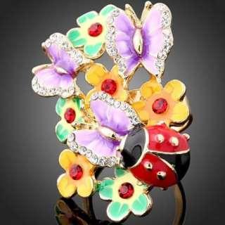ARINNA Enamel Rose Ladybug Crystal Yellow Gold GP ring