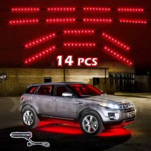 RED 14pcs Three Mode LED Undercar Neon Accent light Kit