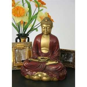 Buddha in Meditation on Lotus Sculpture, 11.5 inch H, Gold and Red   O