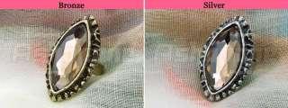 Retro Vintage Carved Patterns Big Rhinestone Adjustable Ring 2 Colors