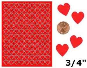 216 3/4 RED HEART BLANK STICKERS KISSES LABELS FAVORS
