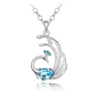 Top Value Jewelry Blue Crystal Peacock Pendant, Women Sweater Necklace