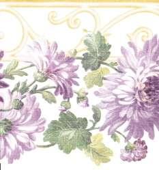 DIE CUT PURPLE & LAVENDER FLOWERS Wallpaper bordeR Wall