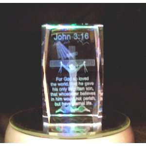 Laser Etched Crystal Cube John 3:16: Home & Kitchen