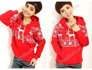 Fashion Christmas Snowflake Deer Hoodie Sweatshirt Coat Warm Top