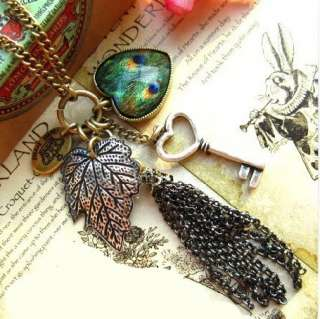 New Fashion Jewelry Leaf Peacock Feathers Hearts Key Pendant Necklace