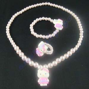 3pcs kids Hello Kitty jewelry necklace bangle ring #3s