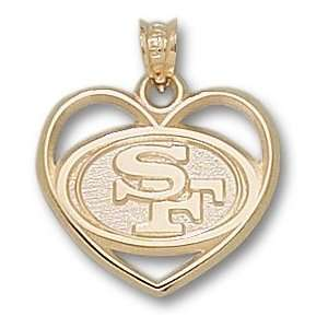 San Francisco 49ers Logo Heart Pendant 14K Gold Jewelry