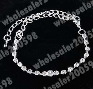 Leaf Rhinestone Set Necklace&Bracelet&Earrings&Ring