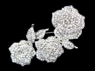 CLEAR SWAROVSKI CRYSTAL Bridal Rose Flower PIN BROOCH W