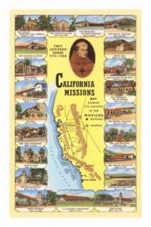 Map of California Missions Posters at AllPosters