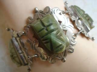 VINTAGE OLD MEXICO MEXICAN STERLING SILVER AGATE JADE WIDE FACE