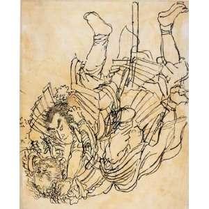 Card Japanese Art Utagawa Kuniyoshi Two opponents in aunderwater fight