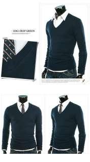 Mens Basic V Neck Sweater Shirts NWT 7Clr S M (BG062) 076783016996