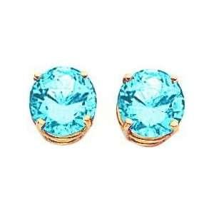 14K Yellow Gold Blue Topaz Stud Earrings Jewelry 8mm