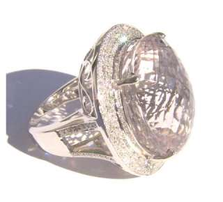 nite/GORGEOUS LADIES 40C MORGANITE & DIAMOND 14KT RING