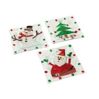 Set of 6 Mod Holiday Santa/Snowman / Tree Glass Christmas Plates 8