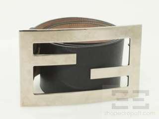 Leather & Large Silver Monogram Buckle Wide Belt Size 85/34