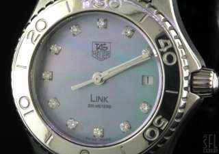 TAG HEUER LINK MOTHER OF PEARL/VS DIAMOND DIAL SS LADIES WATCH W/ DATE