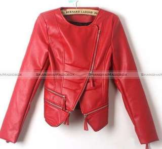 Vintage Punk Faux Leather Motorcycle Coat Jacket Outwear WCOT126