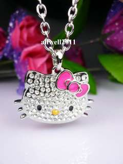 Hello Kitty Pendant Fashion Necklace Crystal Bling Rhinestone Pink Bow