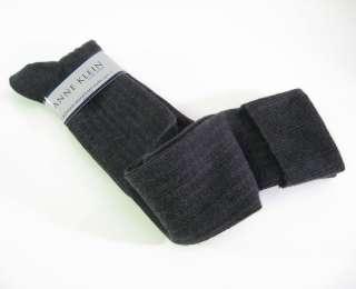 Anne Klein Ladies Knee Socks Cashmere Blend Charcoal Grey Cuff   NEW