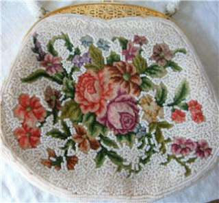 Vtg Micro Beaded Hand Bag Purse Petit Point Tapestry Floral Flowers