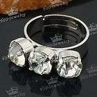 White Gold Plated Faceted Inlaid Bead Adjustable Finger Ring US7
