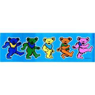 Grateful Dead   5 Jerry Bears on Blue   9 1/4 x 3   Sticker / Decal