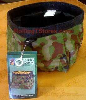 DOG PET FOOD BOWL TRAVEL COLLAPSIBLE CAMOUFLAGE