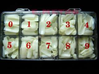 Natural Color Acrylic False French Nail Full Cover Tips in Box