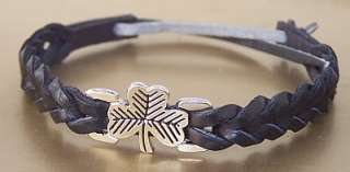 LUCKY IRISH SHAMROCK LEATHER BAND FRIENDSHIP BRACELET