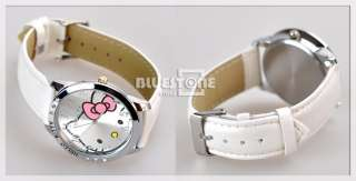 New Kitty Cat Round Stainless Quartz Wrist Watch White